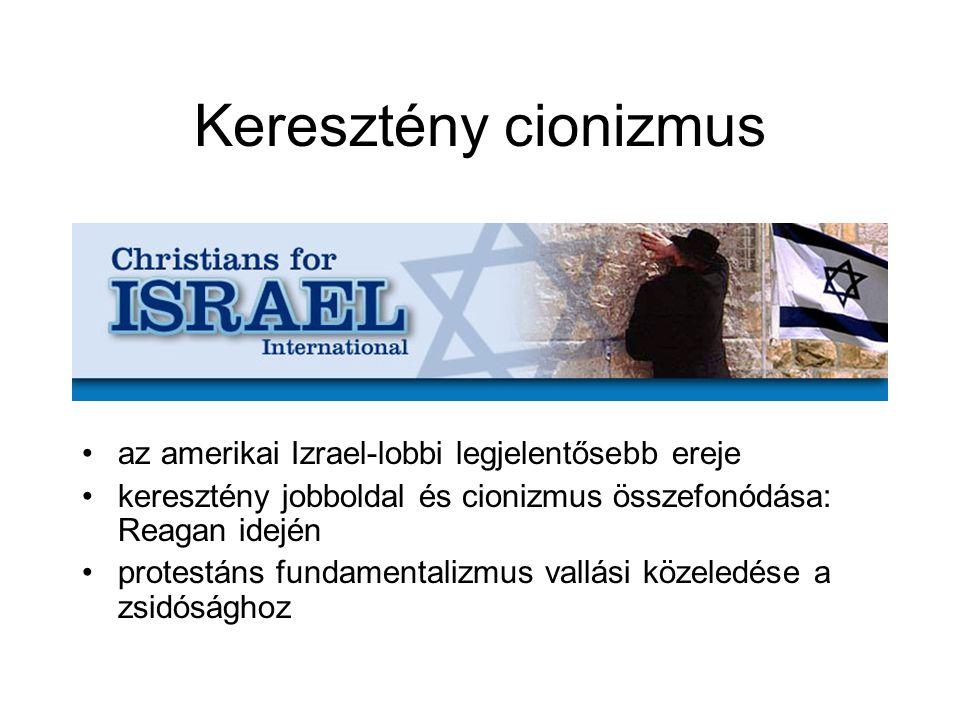 Keresztény cionizmus az amerikai Izrael-lobbi legjelentősebb ereje keresztény jobboldal és cionizmus összefonódása: Reagan idején protestáns fundamentalizmus vallási közeledése a zsidósághoz