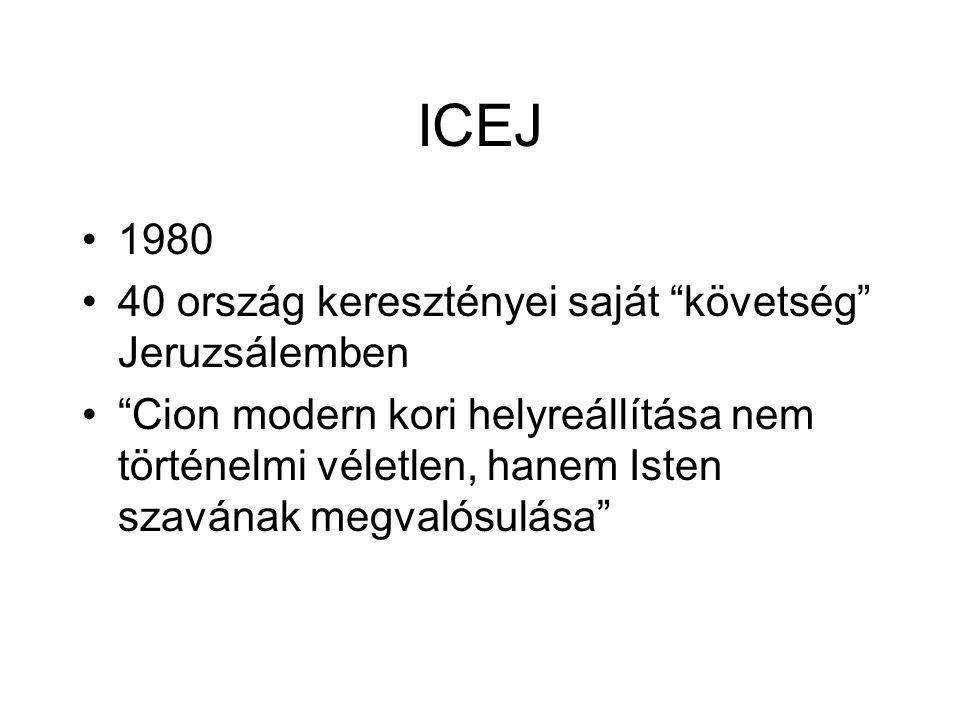 """ICEJ 1980 40 ország keresztényei saját """"követség"""" Jeruzsálemben """"Cion modern kori helyreállítása nem történelmi véletlen, hanem Isten szavának megvaló"""