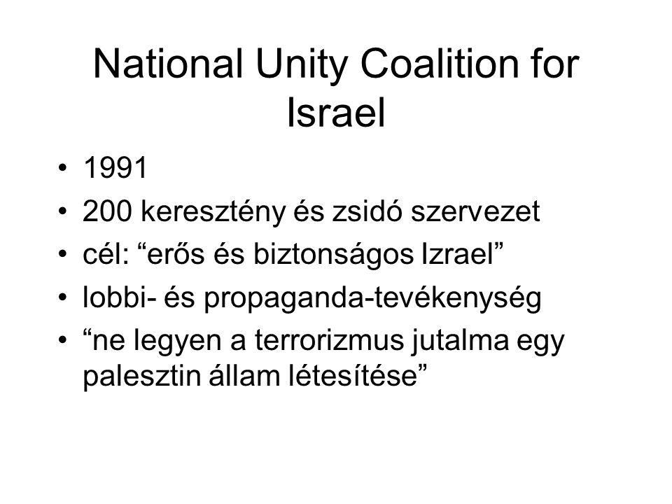 National Unity Coalition for Israel 1991 200 keresztény és zsidó szervezet cél: erős és biztonságos Izrael lobbi- és propaganda-tevékenység ne legyen a terrorizmus jutalma egy palesztin állam létesítése