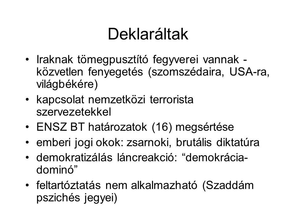 Deklaráltak Iraknak tömegpusztító fegyverei vannak - közvetlen fenyegetés (szomszédaira, USA-ra, világbékére) kapcsolat nemzetközi terrorista szervezetekkel ENSZ BT határozatok (16) megsértése emberi jogi okok: zsarnoki, brutális diktatúra demokratizálás láncreakció: demokrácia- dominó feltartóztatás nem alkalmazható (Szaddám pszichés jegyei)
