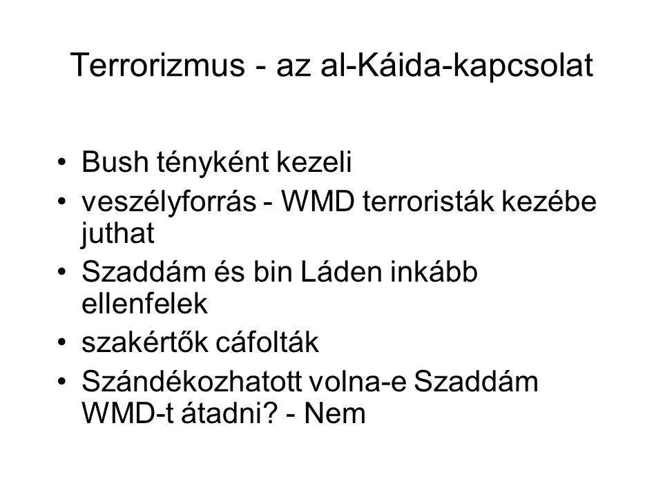 Terrorizmus - az al-Káida-kapcsolat Bush tényként kezeli veszélyforrás - WMD terroristák kezébe juthat Szaddám és bin Láden inkább ellenfelek szakértők cáfolták Szándékozhatott volna-e Szaddám WMD-t átadni.