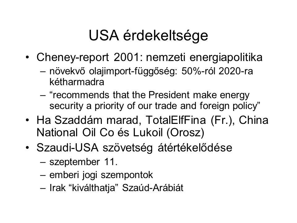 USA érdekeltsége Cheney-report 2001: nemzeti energiapolitika –növekvő olajimport-függőség: 50%-ról 2020-ra kétharmadra – recommends that the President make energy security a priority of our trade and foreign policy Ha Szaddám marad, TotalElfFina (Fr.), China National Oil Co és Lukoil (Orosz) Szaudi-USA szövetség átértékelődése –szeptember 11.