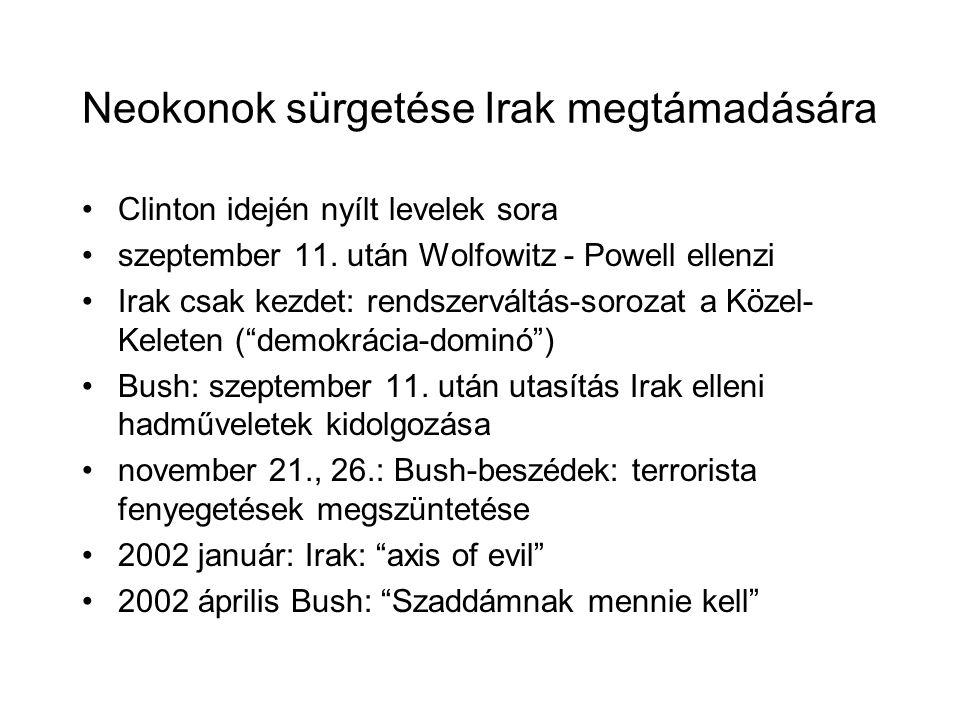 Neokonok sürgetése Irak megtámadására Clinton idején nyílt levelek sora szeptember 11. után Wolfowitz - Powell ellenzi Irak csak kezdet: rendszerváltá