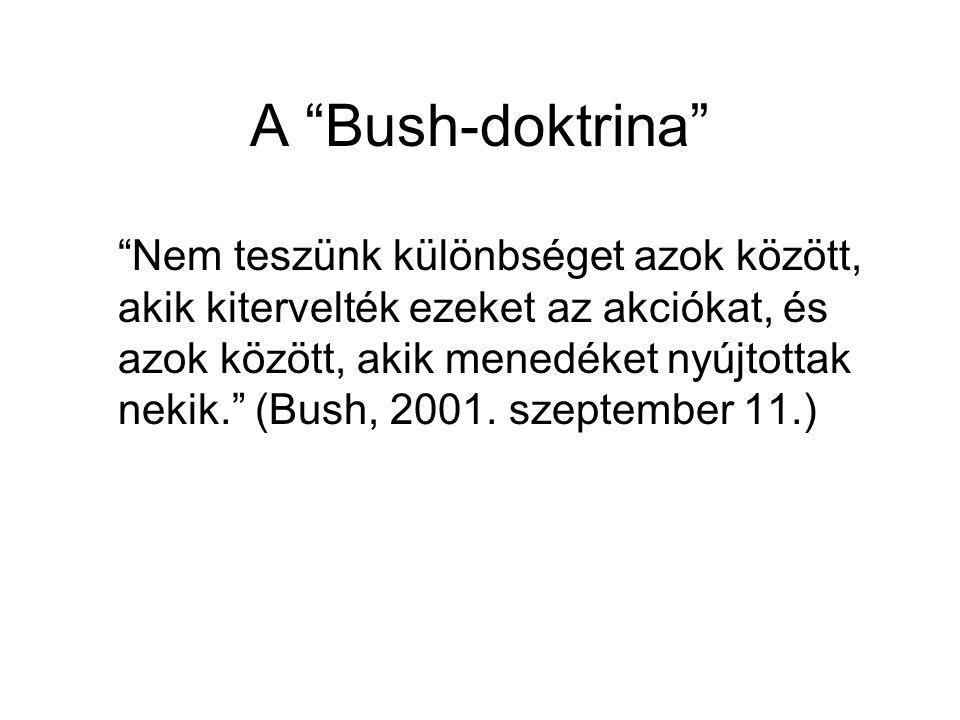 A Bush-doktrina Nem teszünk különbséget azok között, akik kitervelték ezeket az akciókat, és azok között, akik menedéket nyújtottak nekik. (Bush, 2001.