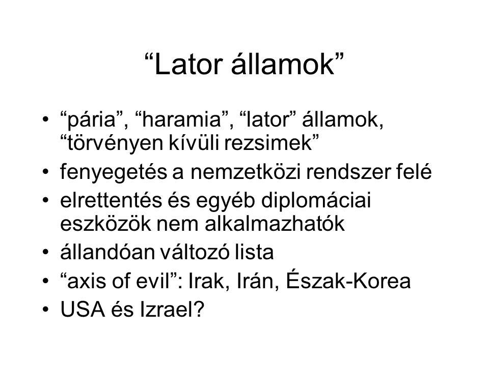Lator államok pária , haramia , lator államok, törvényen kívüli rezsimek fenyegetés a nemzetközi rendszer felé elrettentés és egyéb diplomáciai eszközök nem alkalmazhatók állandóan változó lista axis of evil : Irak, Irán, Észak-Korea USA és Izrael?