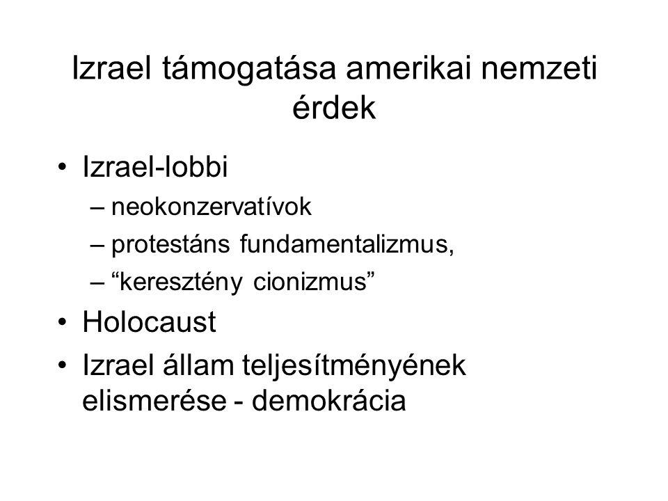 Izrael támogatása amerikai nemzeti érdek Izrael-lobbi –neokonzervatívok –protestáns fundamentalizmus, – keresztény cionizmus Holocaust Izrael állam teljesítményének elismerése - demokrácia