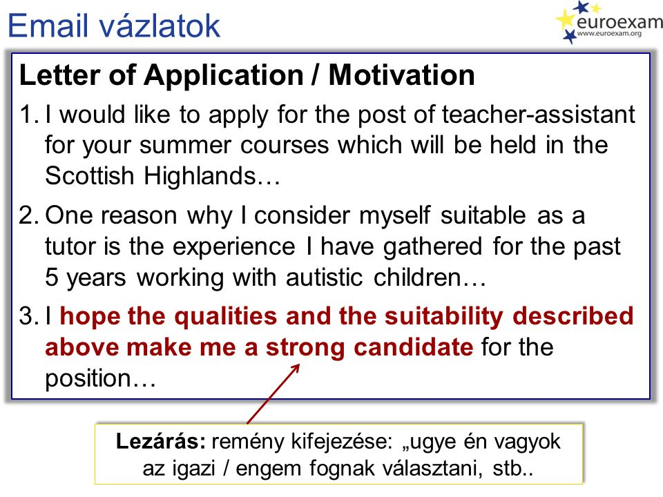 Email vázlatok Letter of Application / Motivation 1.I would like to apply for the post of teacher-assistant for your summer courses which will be held