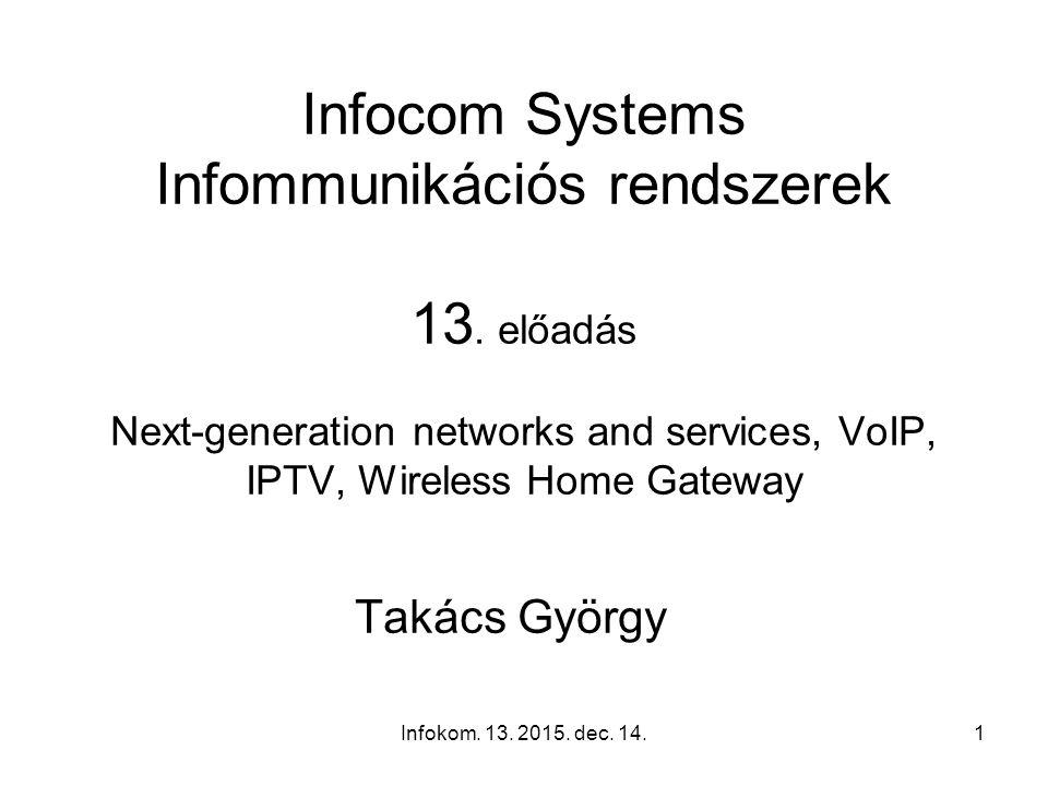 Infokom.13. 2015. dec. 14.1 Infocom Systems Infommunikációs rendszerek 13.