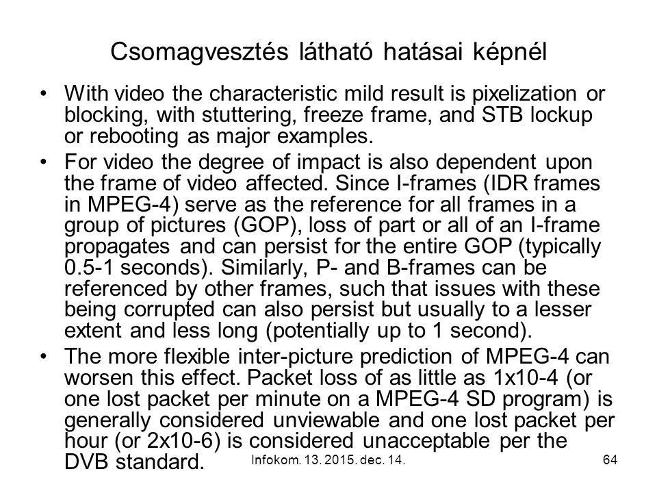 Infokom. 13. 2015. dec. 14.63 Csomagvesztés hallható hatásai hangnál Packet loss of audio can be exhibited as dropouts (kimaradás), squeaking (nyikorg