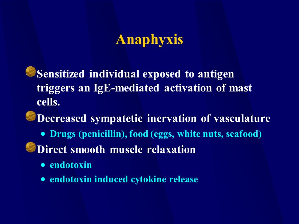 Anaphyxis Sensitized individual exposed to antigen triggers an IgE-mediated activation of mast cells.