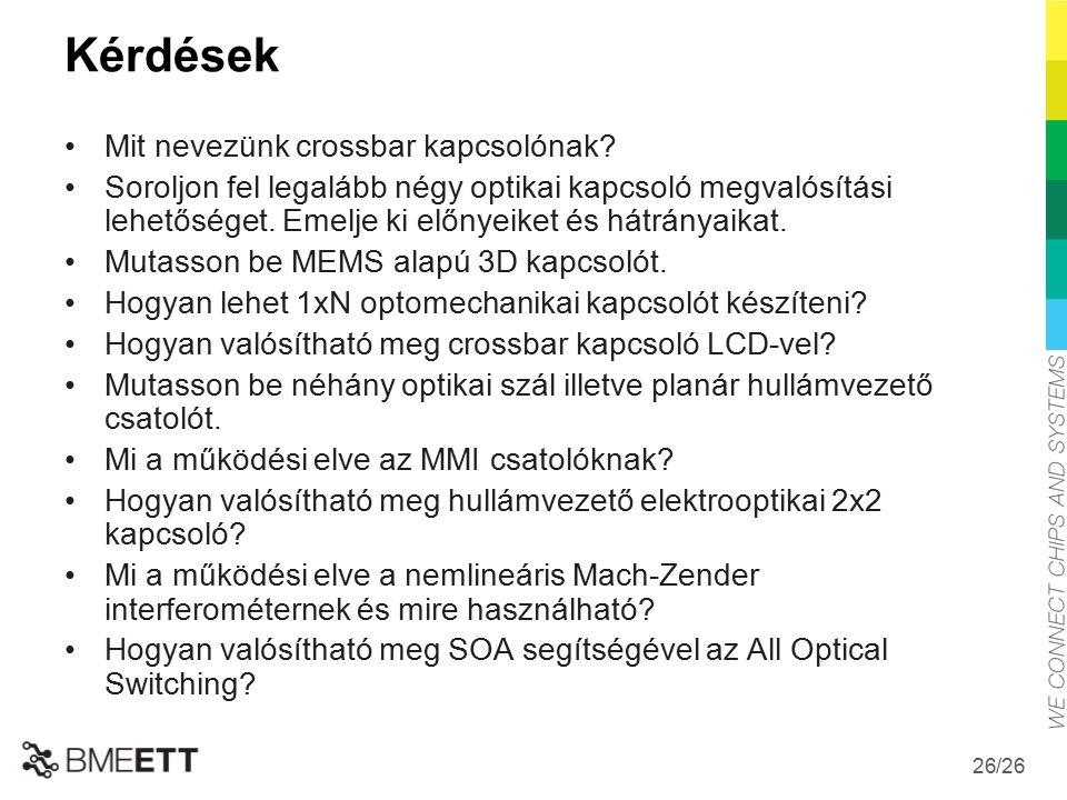 /26 26 Kérdések Mit nevezünk crossbar kapcsolónak.