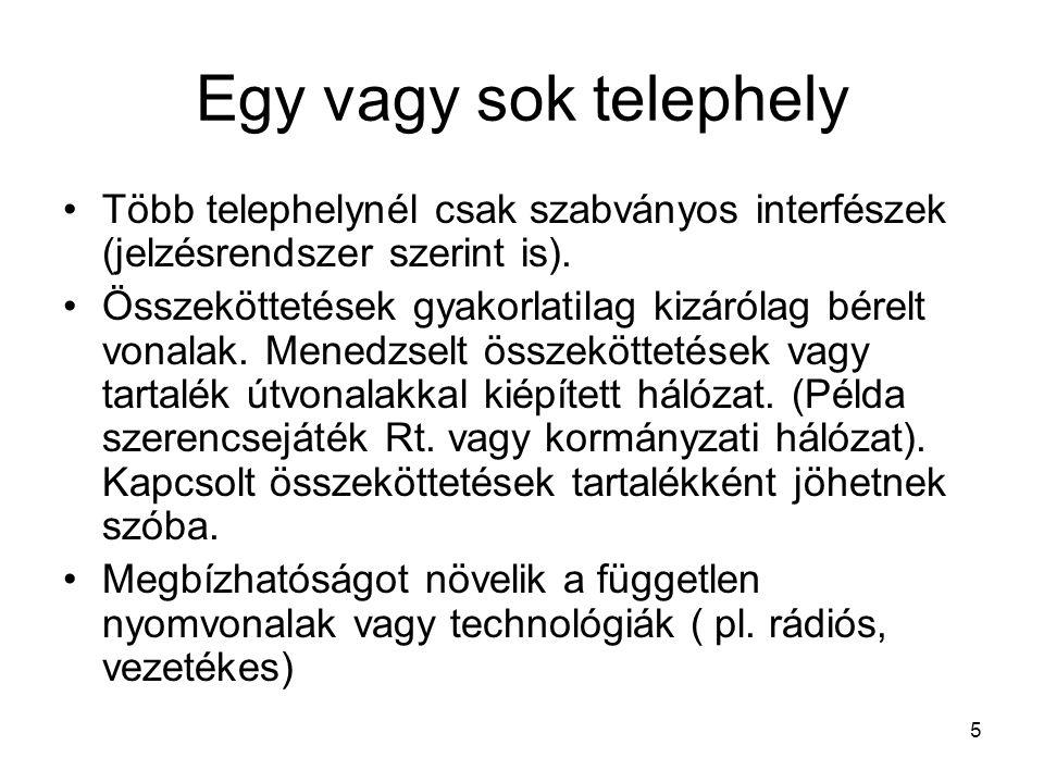 5 Egy vagy sok telephely Több telephelynél csak szabványos interfészek (jelzésrendszer szerint is).