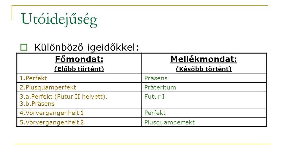 Utóidejűség Főmondat: (Előbb történt) Mellékmondat: (Később történt) 1.PerfektPräsens 2.PlusquamperfektPräteritum 3.a.Perfekt (Futur II helyett), 3.b.Präsens Futur I 4.Vorvergangenheit 1Perfekt 5.Vorvergangenheit 2Plusquamperfekt  Különböző igeidőkkel: