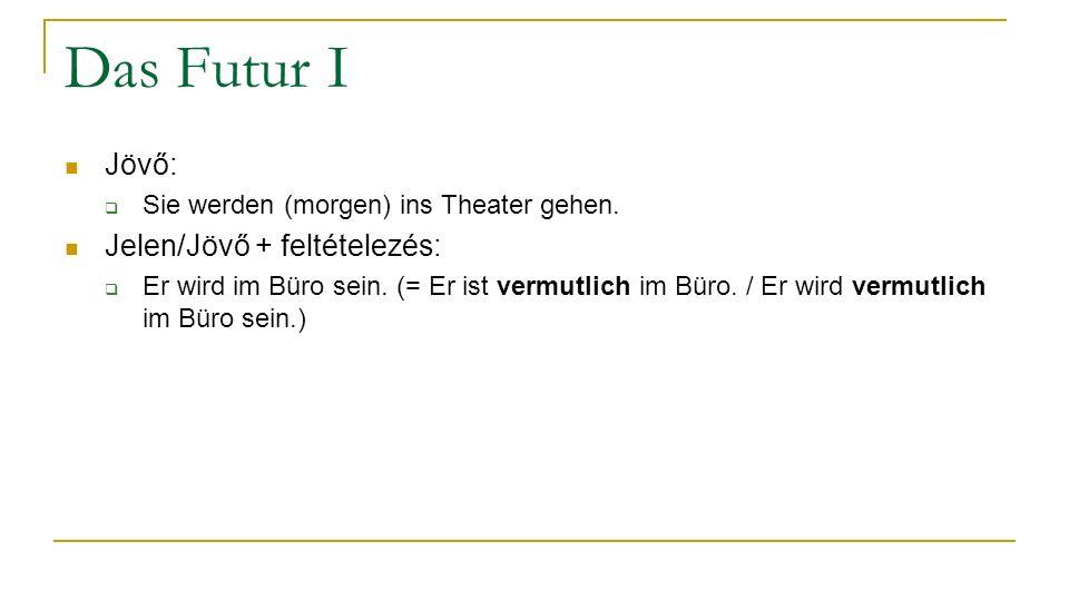 Das Futur I Jövő:  Sie werden (morgen) ins Theater gehen.