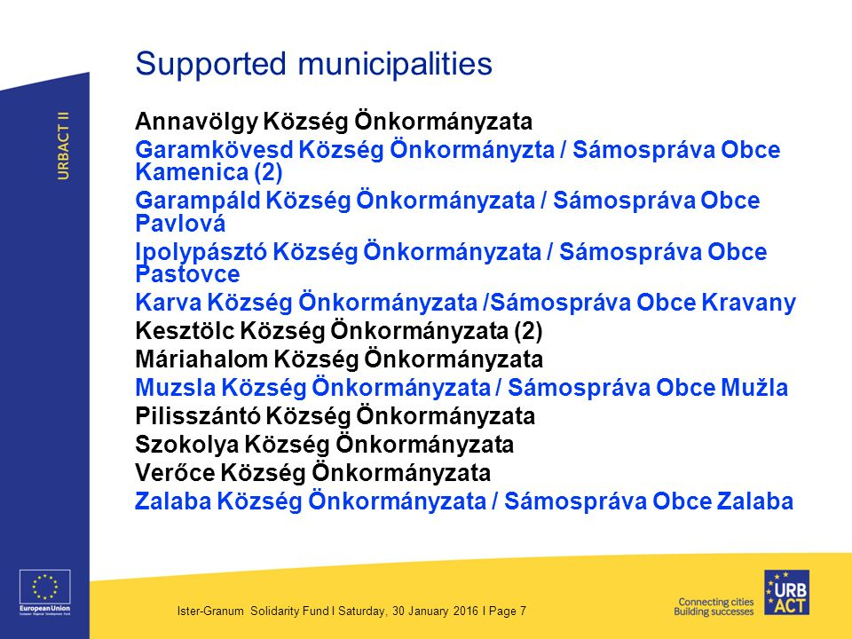 Ister-Granum Solidarity Fund I Saturday, 30 January 2016 I Page 8 Data › 30 submitted project › 14 successful (12 municipalities) › Min.