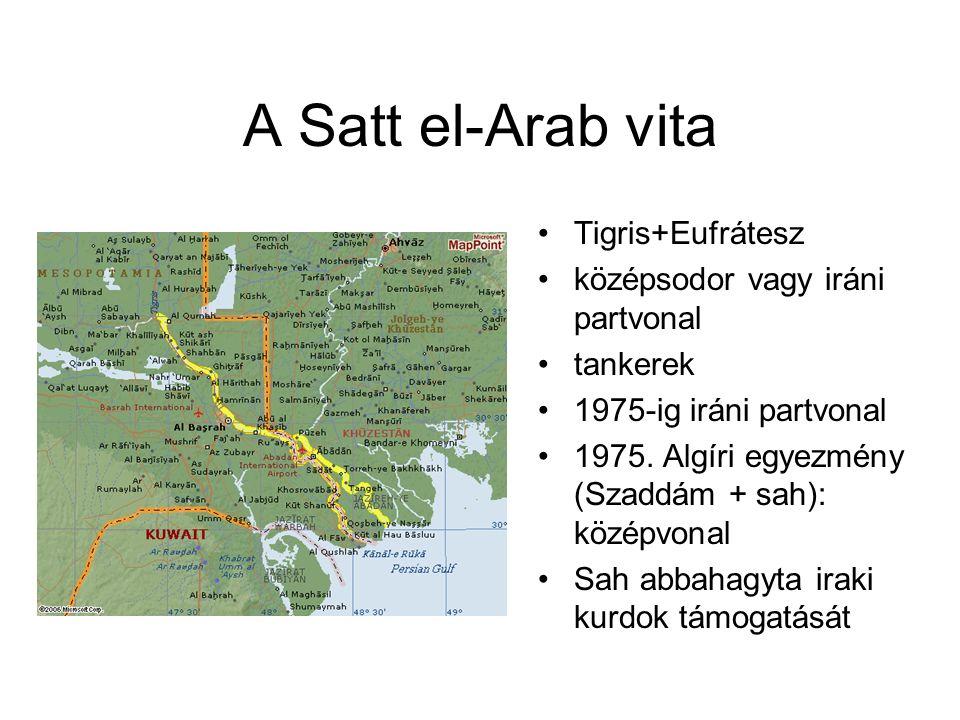 A Satt el-Arab vita Tigris+Eufrátesz középsodor vagy iráni partvonal tankerek 1975-ig iráni partvonal 1975. Algíri egyezmény (Szaddám + sah): középvon