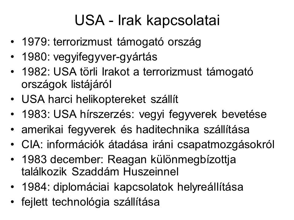 USA - Irak kapcsolatai 1979: terrorizmust támogató ország 1980: vegyifegyver-gyártás 1982: USA törli Irakot a terrorizmust támogató országok listájáró