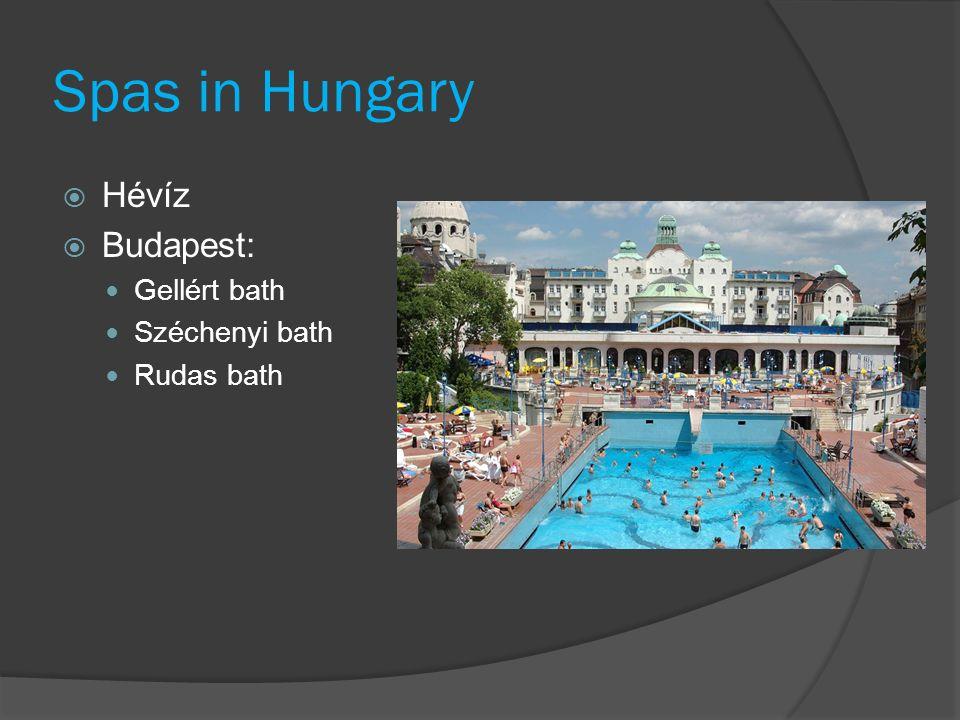 Spas in Hungary  Hévíz  Budapest: Gellért bath Széchenyi bath Rudas bath