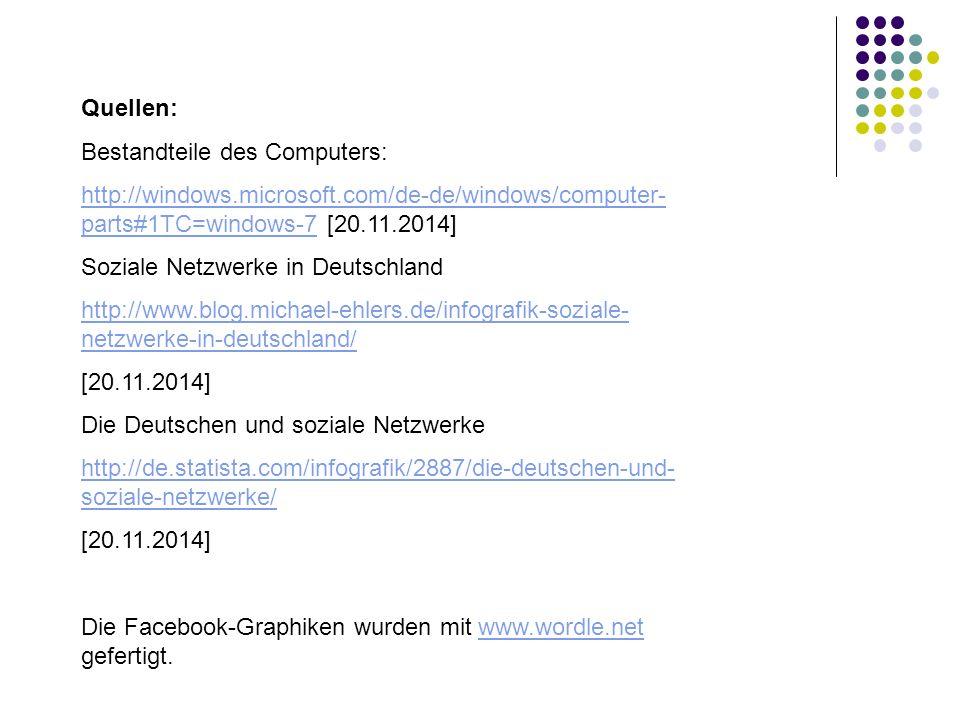 Quellen: Bestandteile des Computers: http://windows.microsoft.com/de-de/windows/computer- parts#1TC=windows-7http://windows.microsoft.com/de-de/windows/computer- parts#1TC=windows-7 [20.11.2014] Soziale Netzwerke in Deutschland http://www.blog.michael-ehlers.de/infografik-soziale- netzwerke-in-deutschland/ [20.11.2014] Die Deutschen und soziale Netzwerke http://de.statista.com/infografik/2887/die-deutschen-und- soziale-netzwerke/ [20.11.2014] Die Facebook-Graphiken wurden mit www.wordle.net gefertigt.www.wordle.net