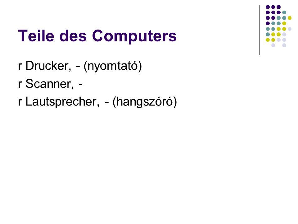 Teile des Computers r Drucker, - (nyomtató) r Scanner, - r Lautsprecher, - (hangszóró)