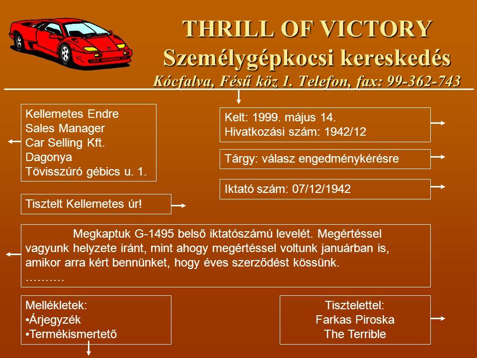 THRILL OF VICTORY Személygépkocsi kereskedés Kócfalva, Fésű köz 1. Telefon, fax: 99-362-743 Kellemetes Endre Sales Manager Car Selling Kft. Dagonya Tö