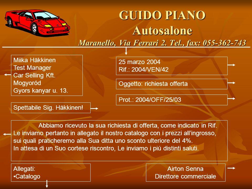 GUIDO PIANO Autosalone Maranello, Via Ferrari 2. Tel., fax: 055-362-743 Miika Häkkinen Test Manager Car Selling Kft. Mogyoród Gyors kanyar u. 13. 25 m