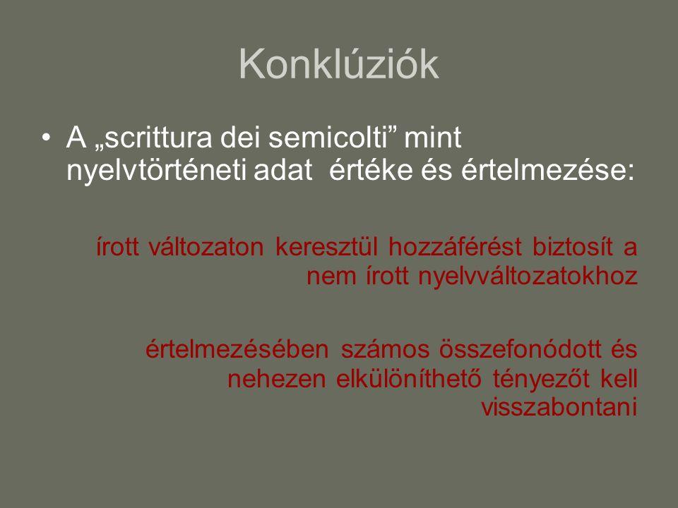 Konklúziók A scrittura dei semicolti mint nyelvtörténeti adat értéke és értelmezése: írott változaton keresztül hozzáférést biztosít a nem írott nyelv