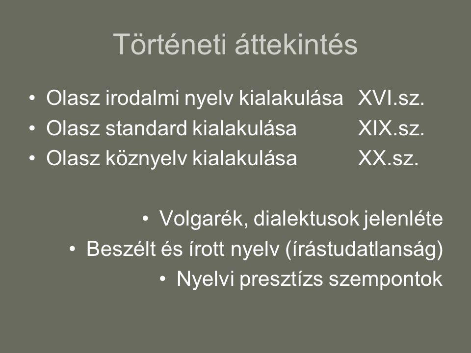 Történeti áttekintés Olasz irodalmi nyelv kialakulásaXVI.sz. Olasz standard kialakulásaXIX.sz. Olasz köznyelv kialakulásaXX.sz. Volgarék, dialektusok