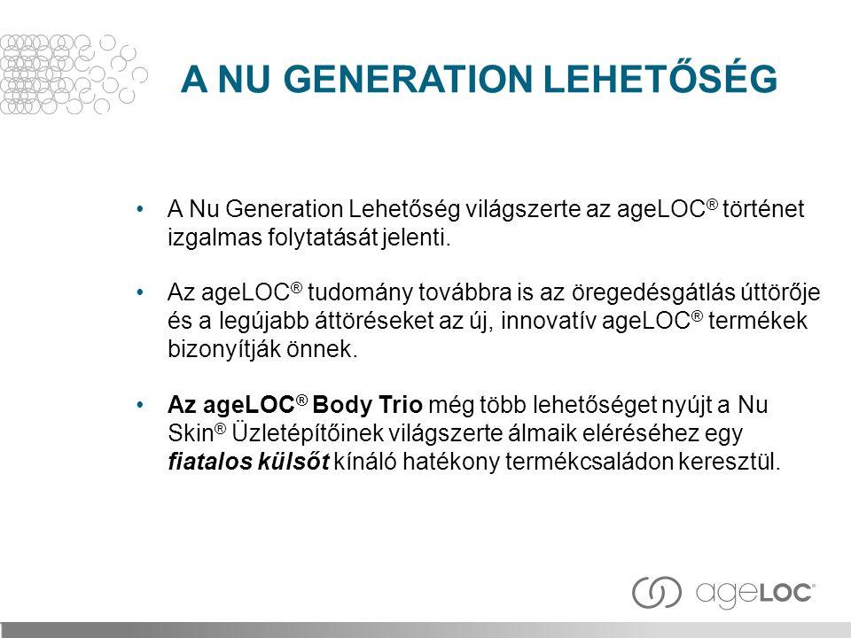 A NU GENERATION LEHETŐSÉG A Nu Generation Lehetőség világszerte az ageLOC ® történet izgalmas folytatását jelenti. Az ageLOC ® tudomány továbbra is az