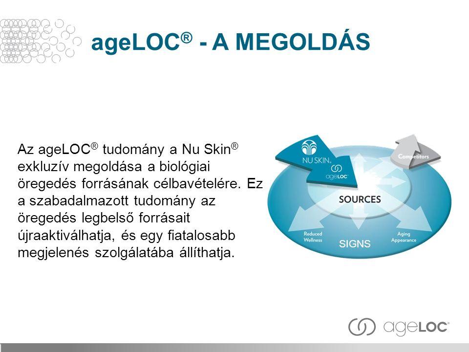 Az ageLOC ® tudomány a Nu Skin ® exkluzív megoldása a biológiai öregedés forrásának célbavételére. Ez a szabadalmazott tudomány az öregedés legbelső f