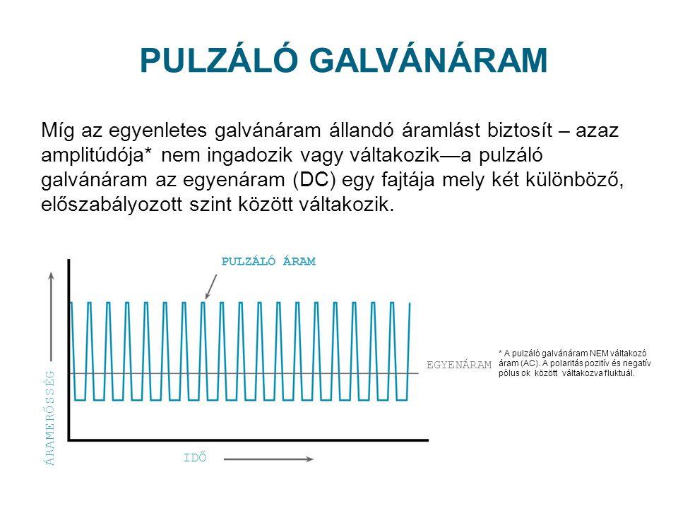 Míg az egyenletes galvánáram állandó áramlást biztosít – azaz amplitúdója* nem ingadozik vagy váltakozika pulzáló galvánáram az egyenáram (DC) egy faj