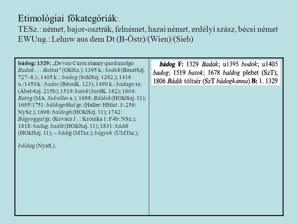 Etimológiai főkategóriák : TESz.: német, bajor-osztrák, felnémet, hazai német, erdélyi szász, bécsi német EWUng.: Lehnw aus dem Dt (B-Östr)/(Wien)/(Si