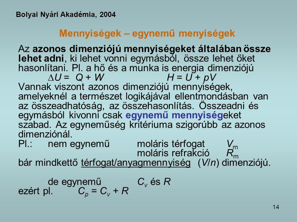 14 Mennyiségek – egynemű menyiségek Az azonos dimenziójú mennyiségeket általában össze lehet adni, ki lehet vonni egymásból, össze lehet őket hasonlítani.