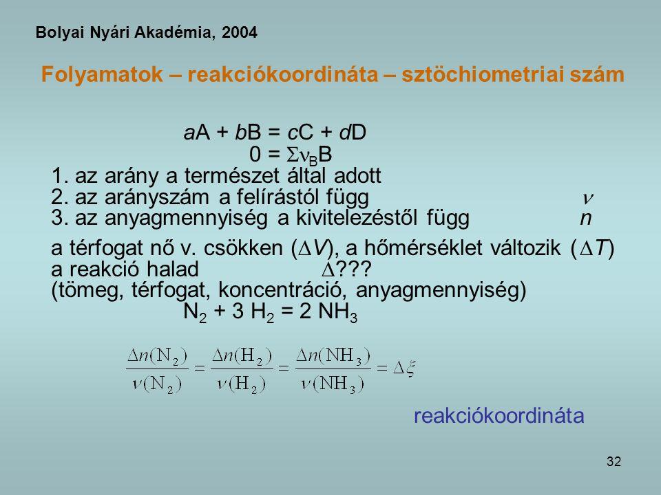 32 Folyamatok – reakciókoordináta – sztöchiometriai szám aA + bB = cC + dD 0 = B B 1.