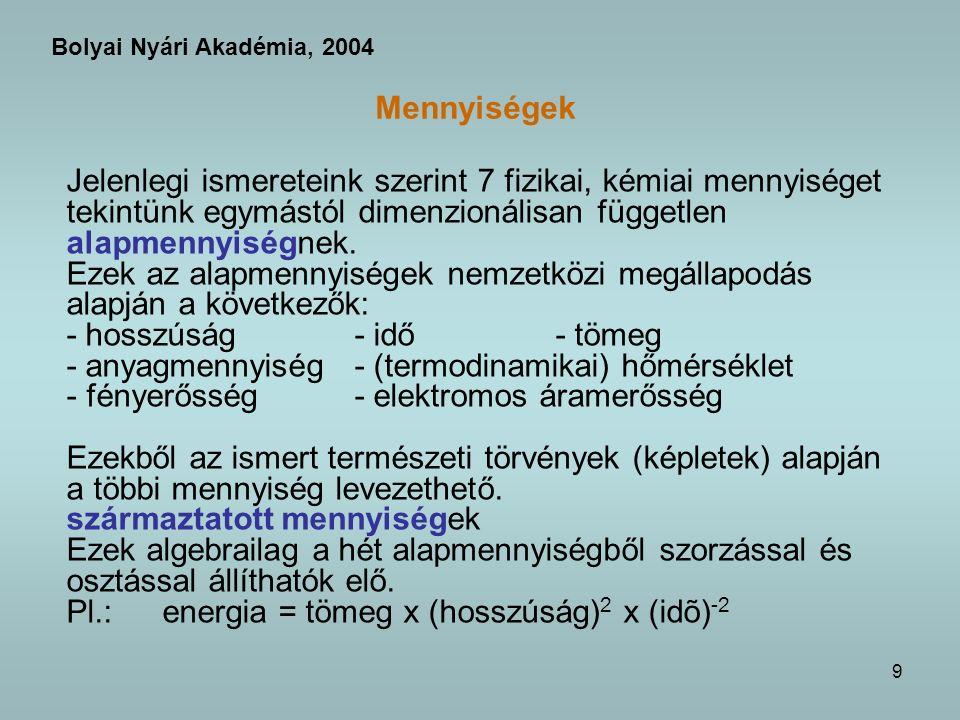 10 Mennyiségek - mértékegységek MENNYISÉG = MÉRŐSZÁM x MÉRTÉKEGYSÉG Bolyai Nyári Akadémia, 2004 a mennyiségek között kapcsolat van: egyenletek, természeti törvények megállapodás kérdése.
