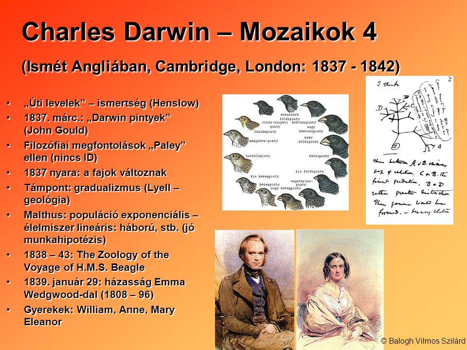 Charles Darwin – Mozaikok 4 (Ismét Angliában, Cambridge, London: 1837 - 1842) Úti levelek – ismertség (Henslow)Úti levelek – ismertség (Henslow) 1837.