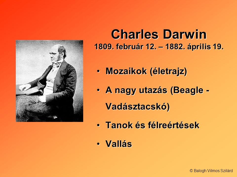 Charles Darwin 1809. február 12. – 1882. április 19. Mozaikok (életrajz)Mozaikok (életrajz) A nagy utazás (Beagle - Vadásztacskó)A nagy utazás (Beagle
