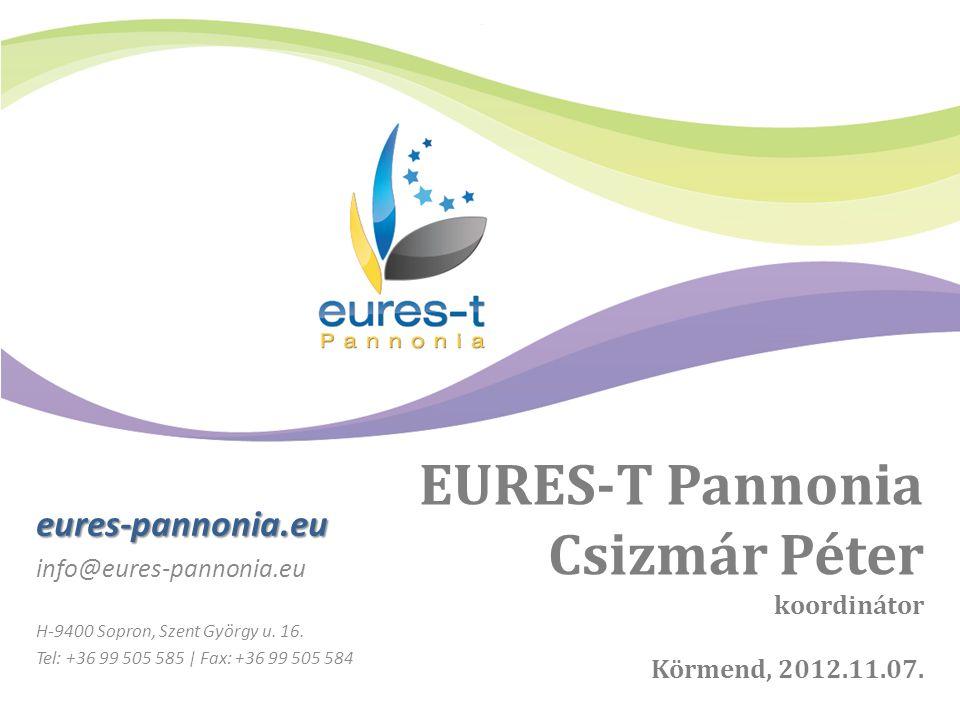 EURES-T Pannonia Csizmár Péter koordinátor Körmend, 2012.11.07. eures-pannonia.eu info@eures-pannonia.eu H-9400 Sopron, Szent György u. 16. Tel: +36 9