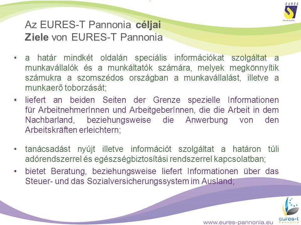 Az EURES-T Pannonia céljai Ziele von EURES-T Pannonia a határ mindkét oldalán speciális információkat szolgáltat a munkavállalók és a munkáltatók szám