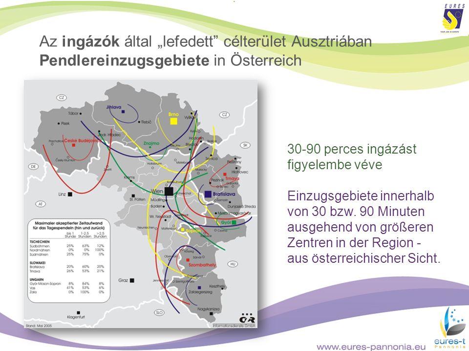 Az ingázók által lefedett célterület Ausztriában Pendlereinzugsgebiete in Österreich 30-90 perces ingázást figyelembe véve Einzugsgebiete innerhalb vo