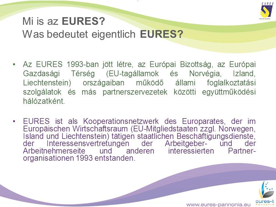 Mi is az EURES? Was bedeutet eigentlich EURES? Az EURES 1993-ban jött létre, az Európai Bizottság, az Európai Gazdasági Térség (EU-tagállamok és Norvé