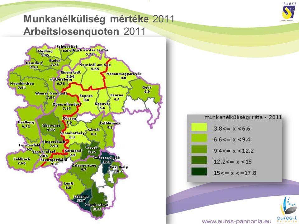 Munkanélküliség mértéke 2011 Arbeitslosenquoten 2011