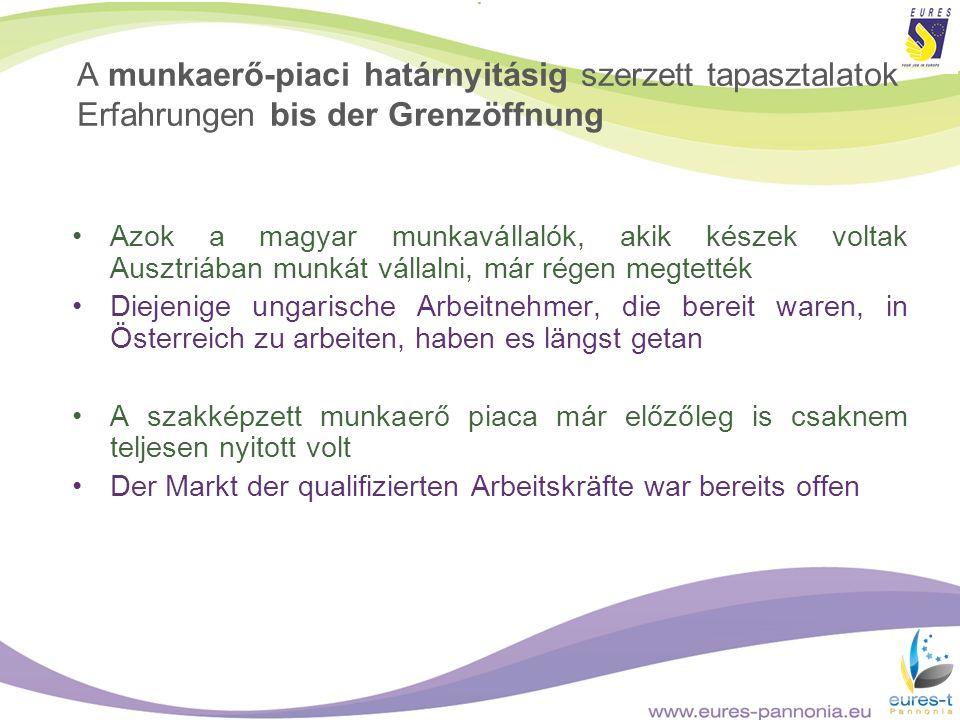A munkaerő-piaci határnyitásig szerzett tapasztalatok Erfahrungen bis der Grenzöffnung Azok a magyar munkavállalók, akik készek voltak Ausztriában mun