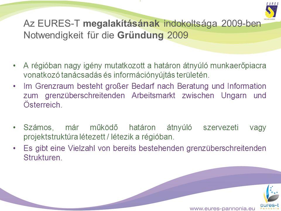 Az EURES-T megalakításának indokoltsága 2009-ben Notwendigkeit für die Gründung 2009 A régióban nagy igény mutatkozott a határon átnyúló munkaerőpiacr