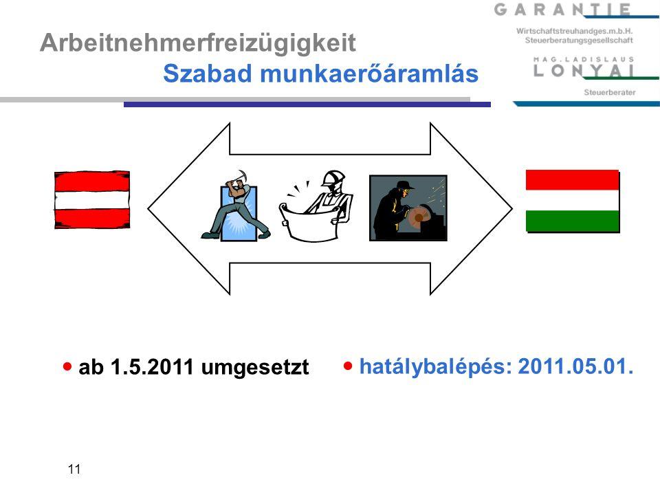 11 Arbeitnehmerfreizügigkeit Szabad munkaerőáramlás ab 1.5.2011 umgesetzt hatálybalépés: 2011.05.01.