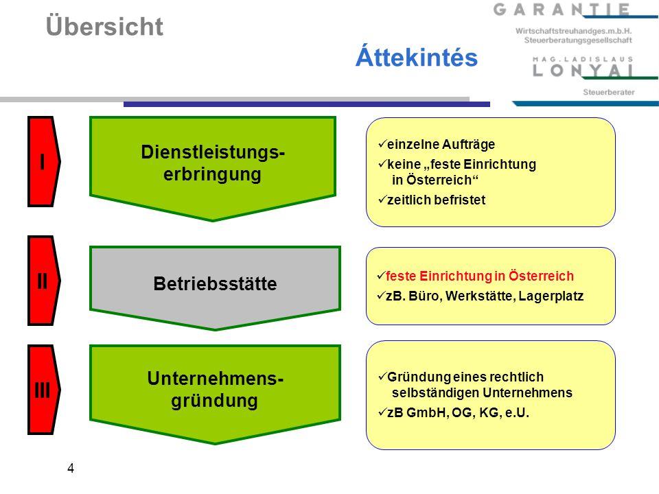 4 Übersicht Áttekintés Dienstleistungs- erbringung Betriebsstätte Unternehmens- gründung einzelne Aufträge keine feste Einrichtung in Österreich zeitlich befristet feste Einrichtung in Österreich zB.