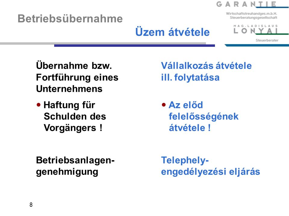 8 Betriebsübernahme Üzem átvétele Übernahme bzw.