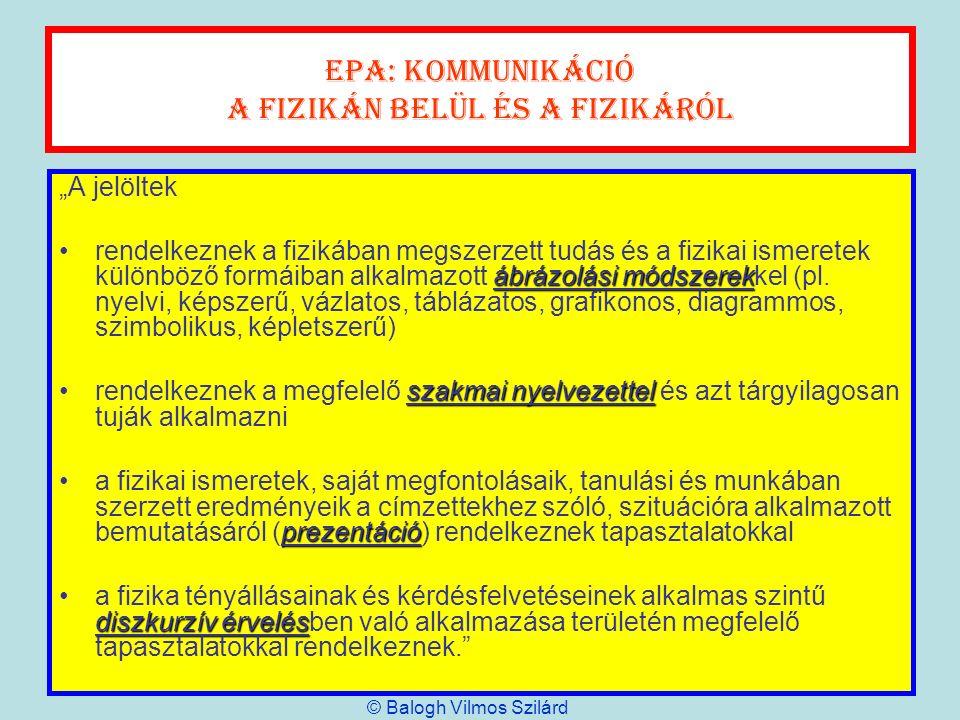 EPA: kommunikáció A fizikán belül és a fizikáról A jelöltek ábrázolási módszerekrendelkeznek a fizikában megszerzett tudás és a fizikai ismeretek külö