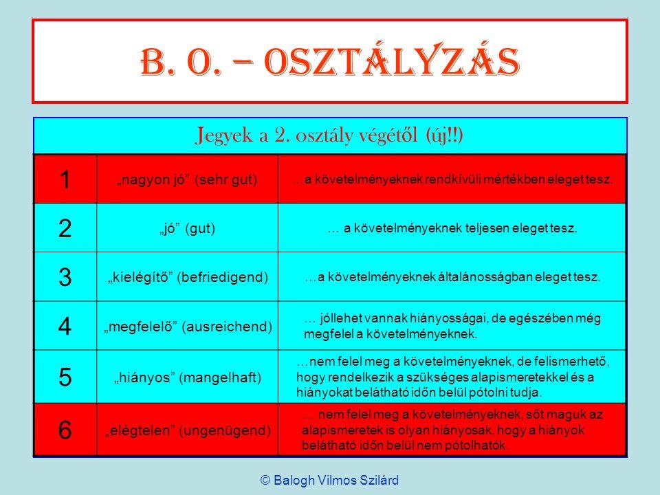 B. o. – Osztályzás Jegyek a 2. osztály végét ő l (új!!) 1 nagyon jó (sehr gut) …a követelményeknek rendkívüli mértékben eleget tesz. 2 jó (gut) … a kö