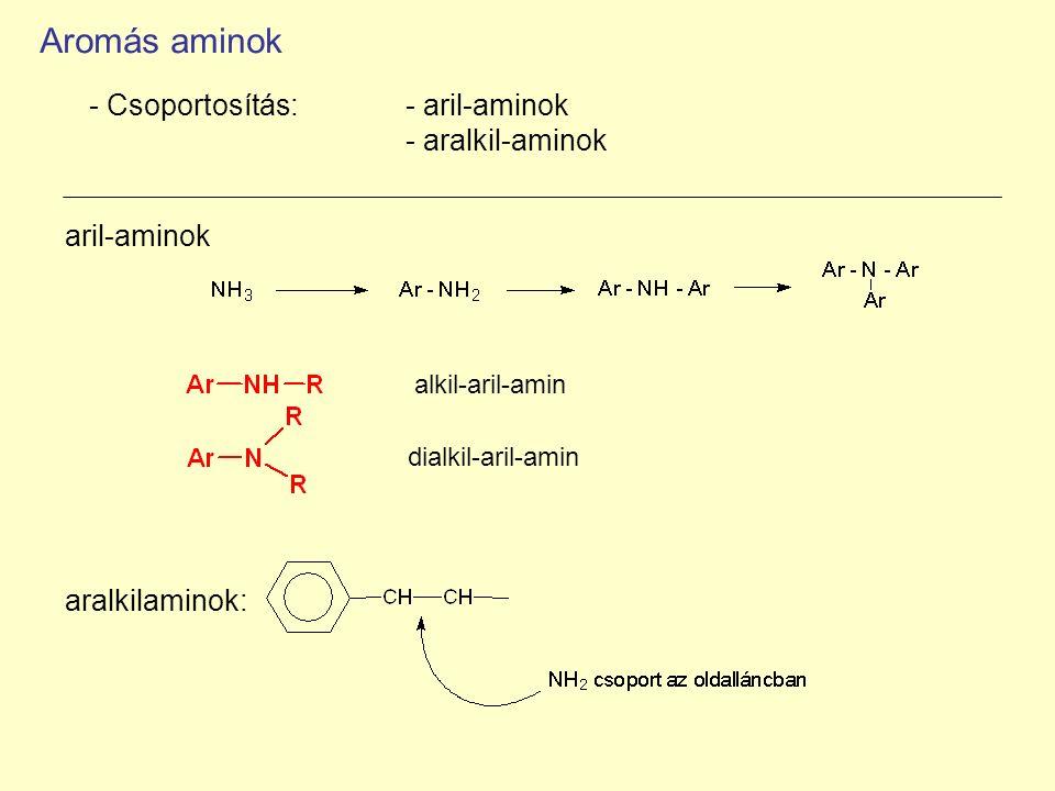 aril-aminok alkil-aril-amin dialkil-aril-amin - Csoportosítás: - aril-aminok - aralkil-aminok aralkilaminok: Aromás aminok